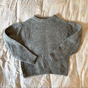H&M fuzzy warm puff sleeve grey sweater